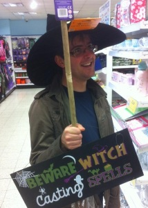 Eric shopping for his Wicked Witch costume